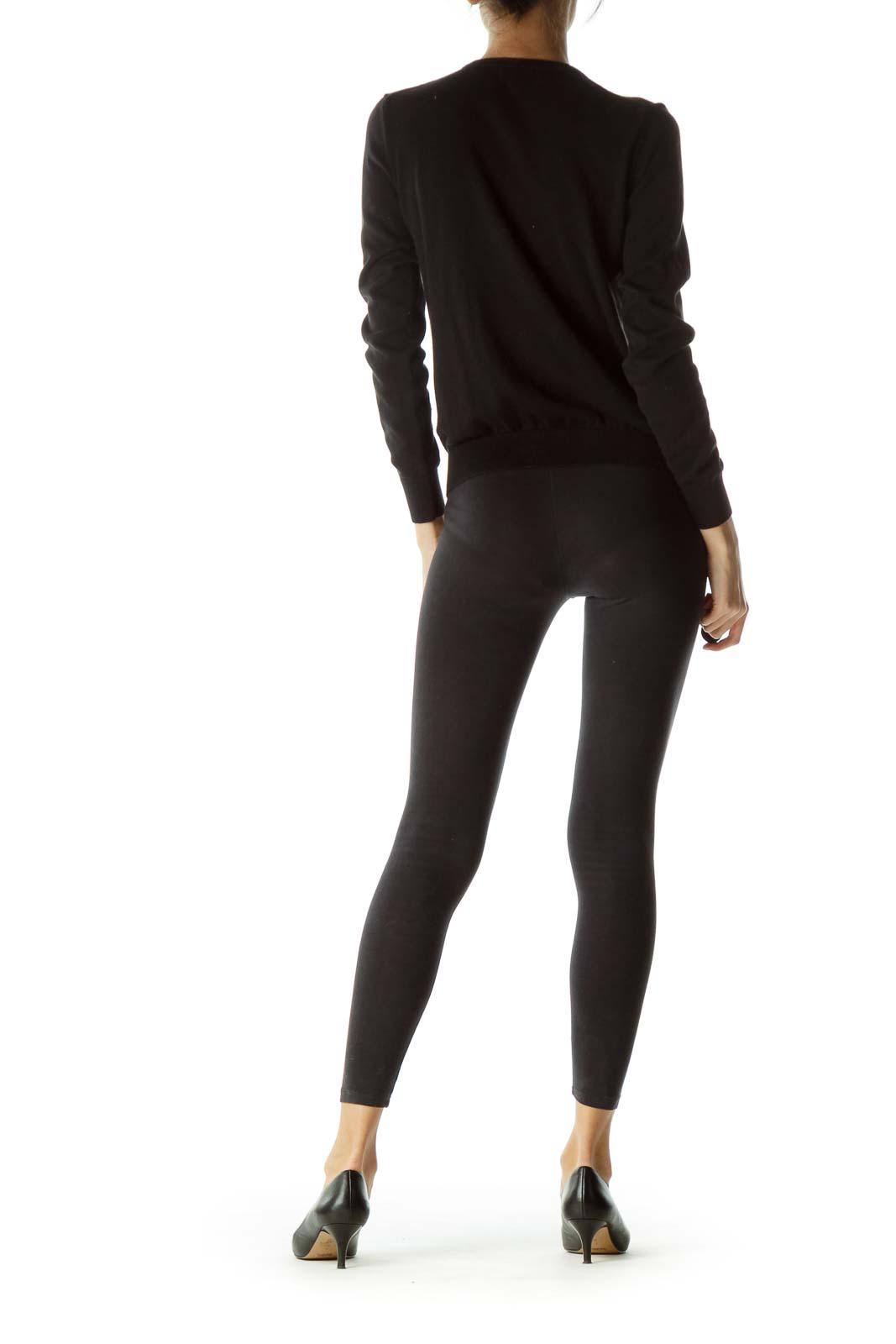 Black Zippered Round Neck Sweater