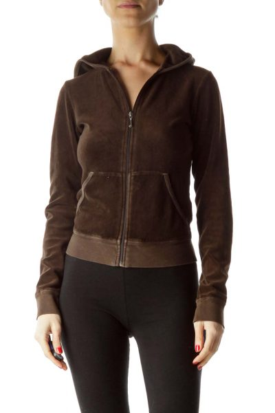 Brown Back Logo Design Hooded Jacket