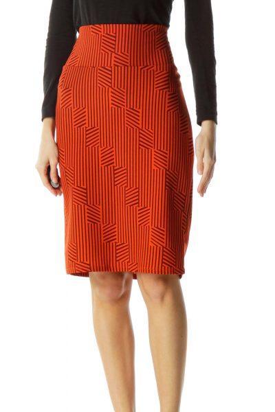 Orange Burgundy Geometric Print Pencil Skirt