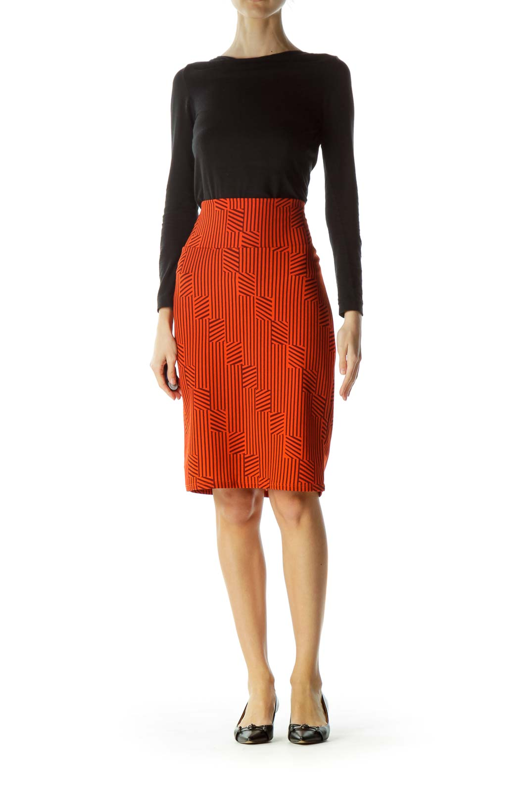 Orange Burgundy Geometric Print Pencil Skirt