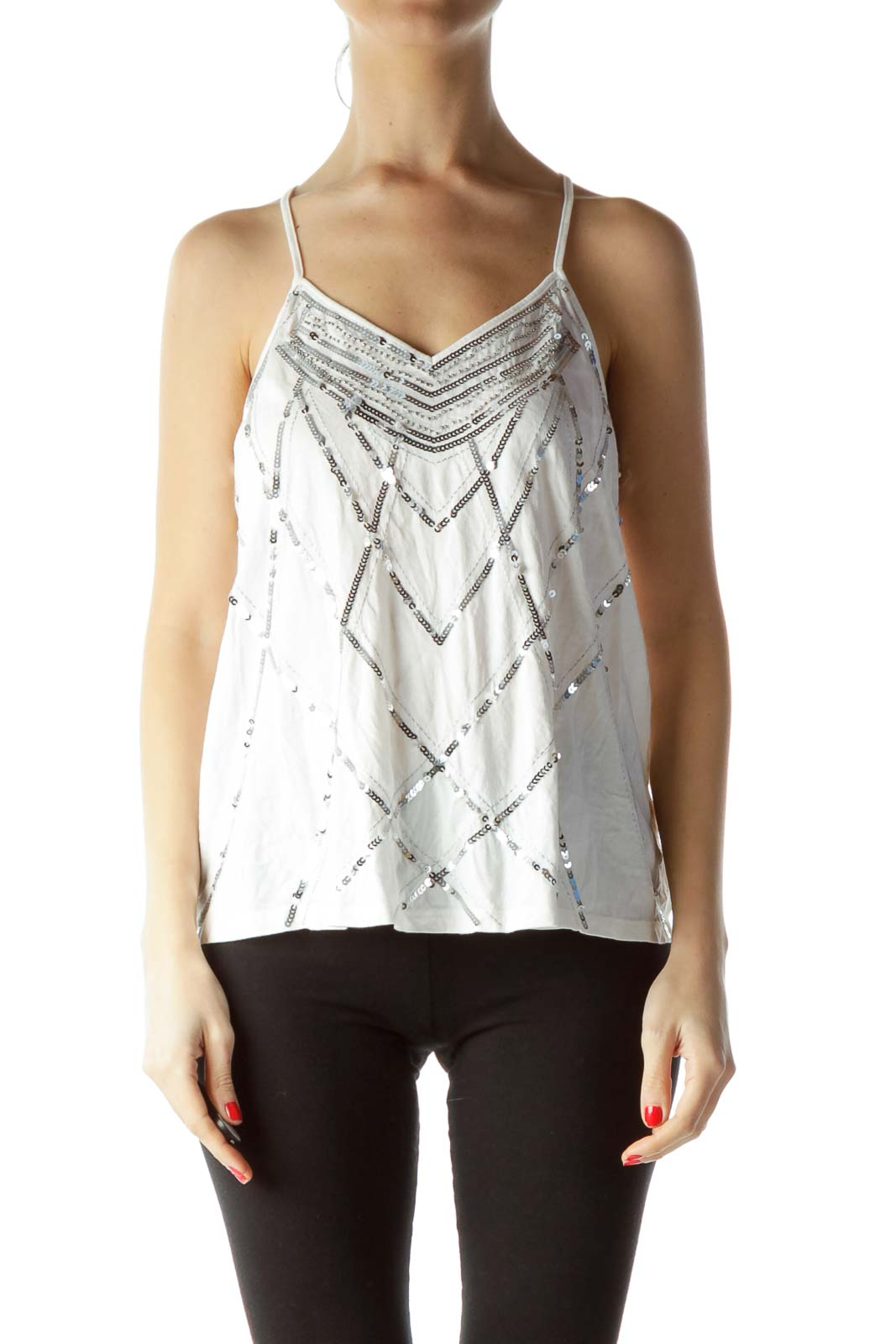 White Silver Sequined Halter Blouse