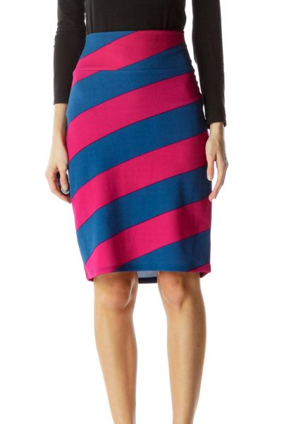 Blue Purple Stripe Pencil Skirt