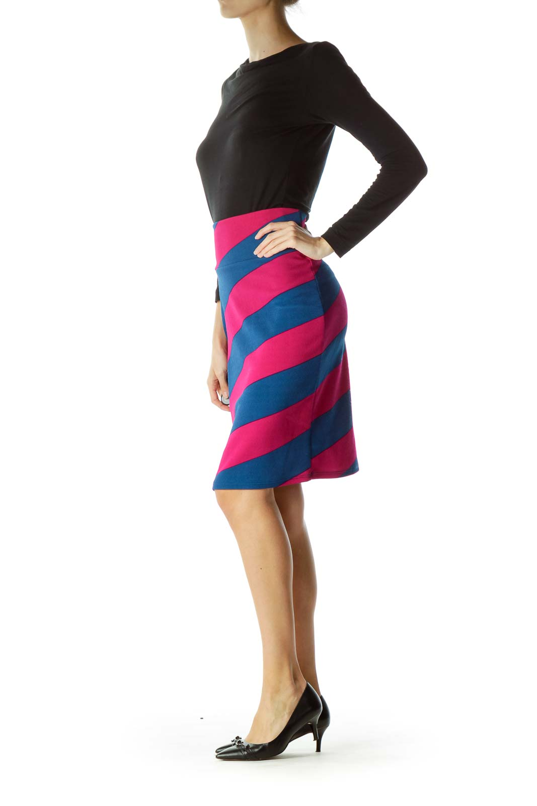 Blue Purple Stripe Pencil Skirt