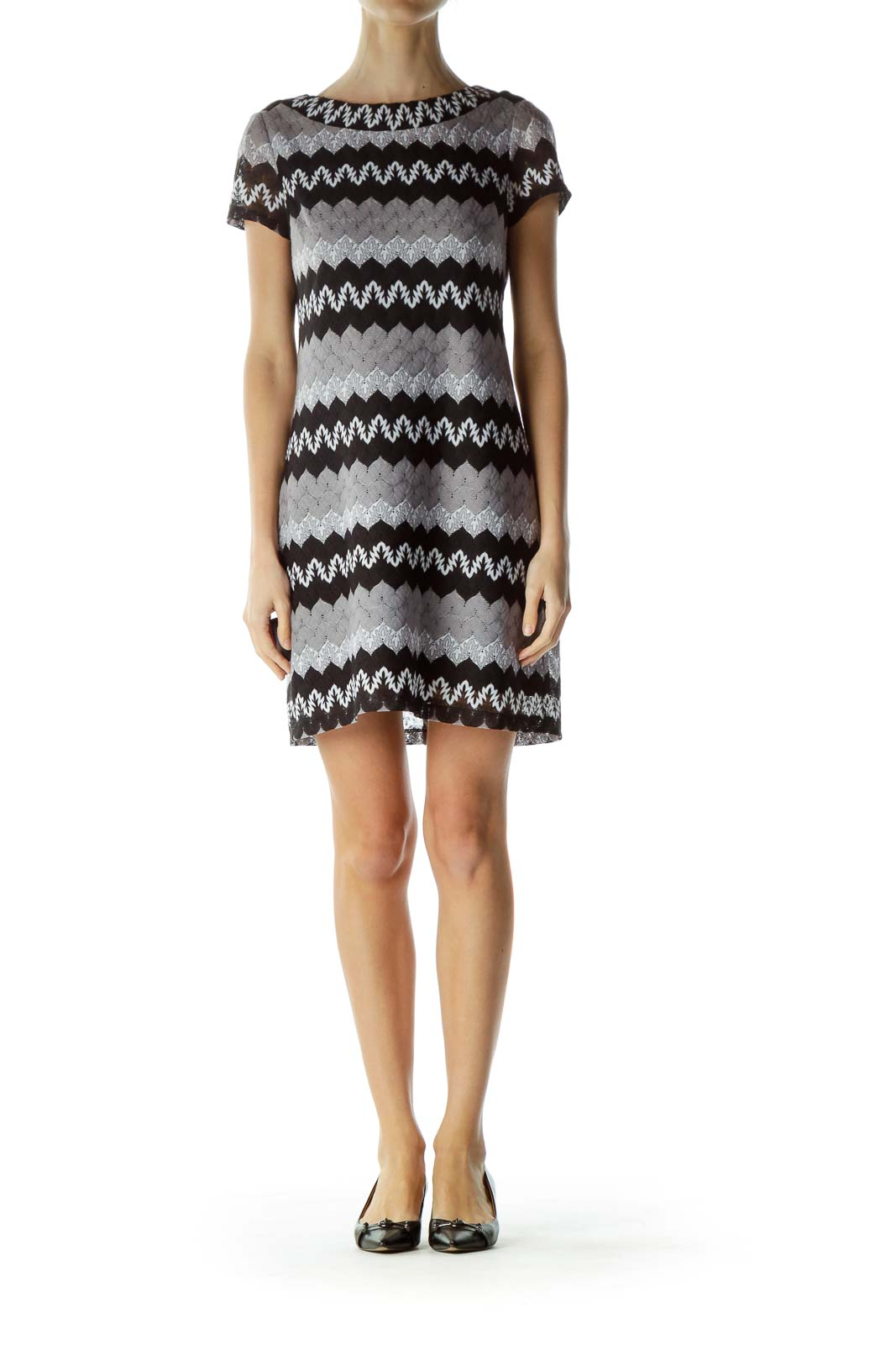 Black Gray Round Neck Zigzag Print Dress