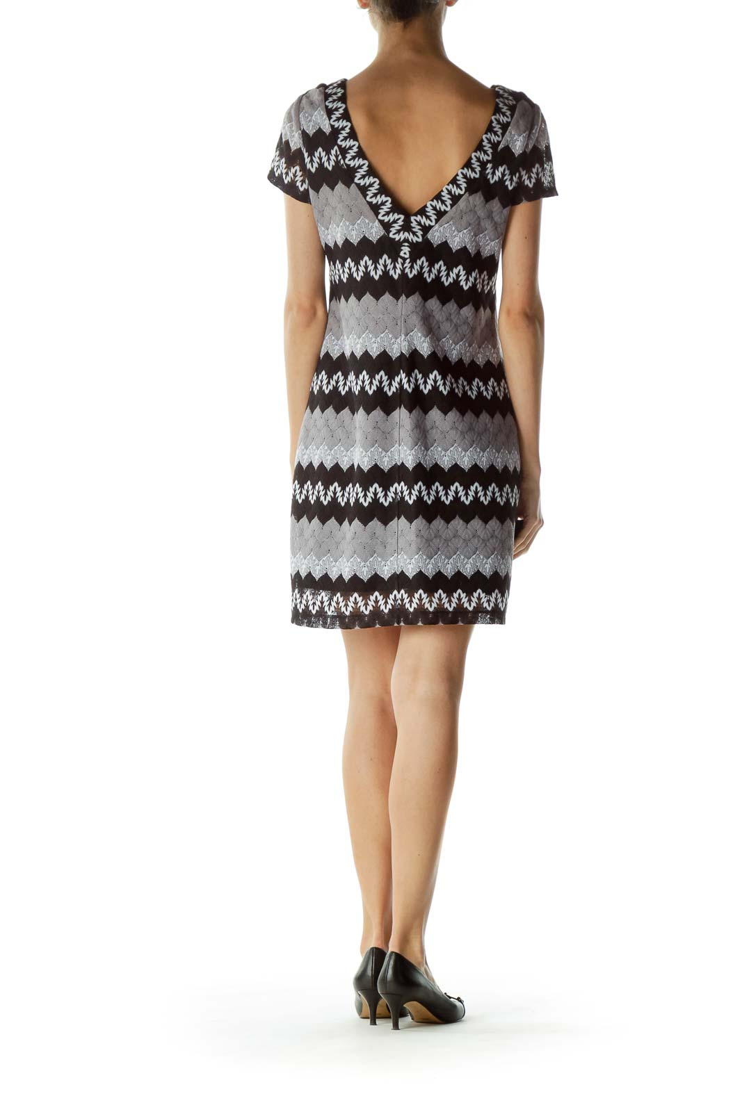 Black Gray Round Neck Zigzag Print Dress
