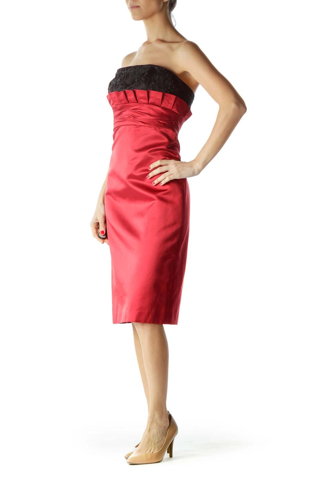 Red Black Beaded Silk Strapless Dress