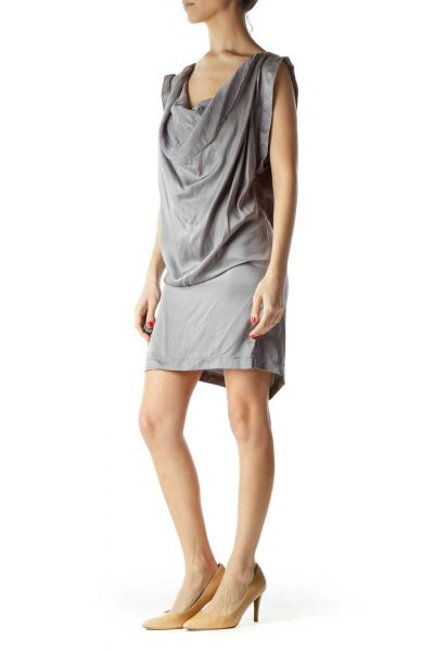 Gray Silk Zippered Boat Neck Cocktail Dress