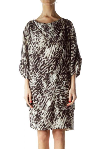 Black Gray Print 100% Silk Day Dress