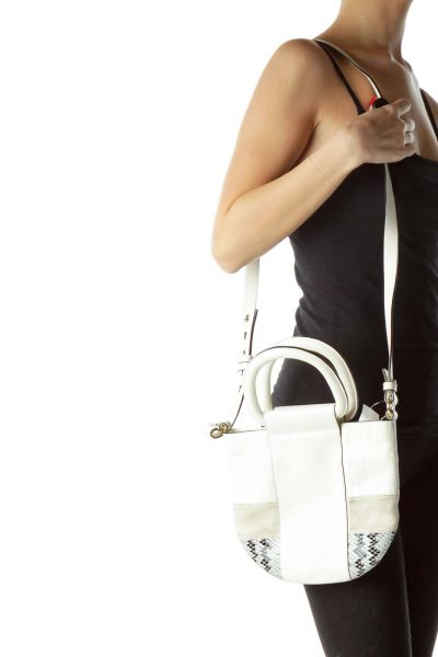 Cream Leather Suede Crossbody Bag