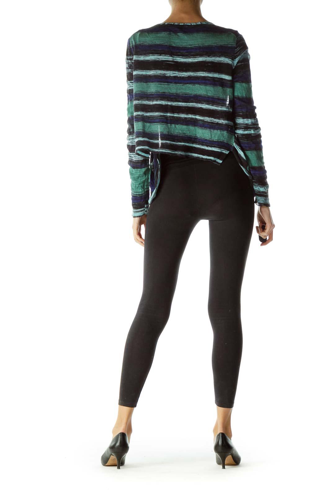 Multicolored Print Pocketed Bolero Sweater