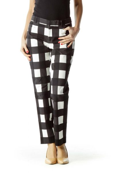Black White Checkered Straight Leg Pants