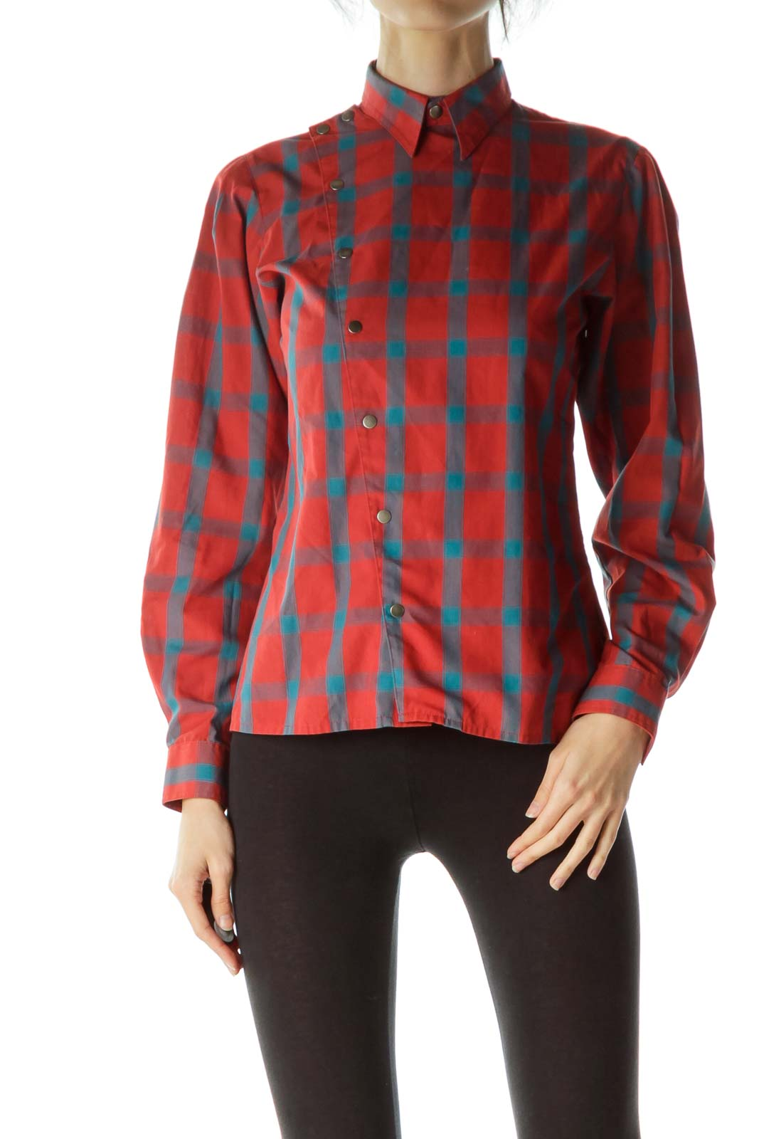 Red Blue Plaid Double Breasted Shirt