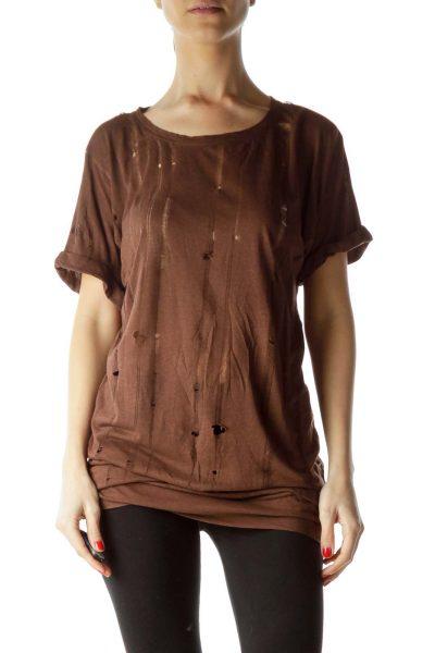 Brown Long Short Sleeve T-Shirt