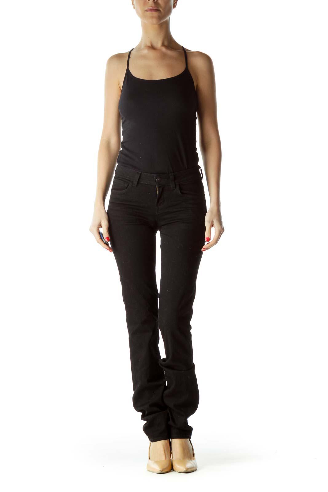 Black Stretch Straight Leg Pants