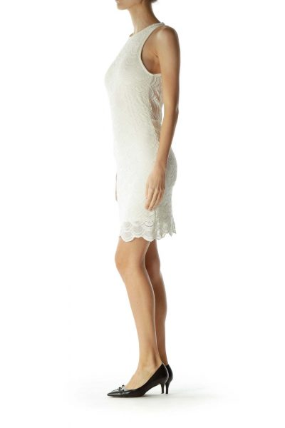 Cream Crocheted Scalloped Day Dress