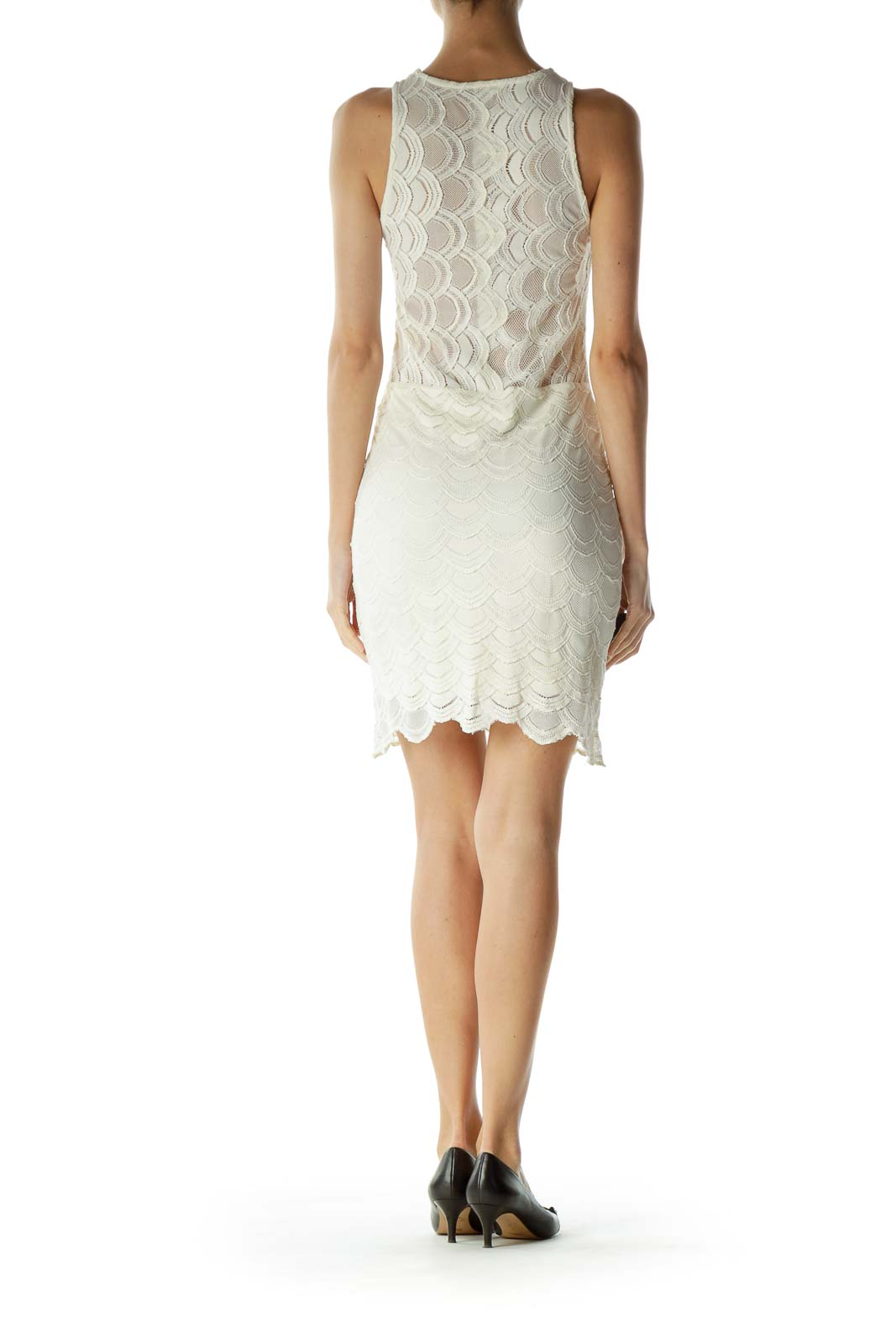 Cream Crocheted Scalloped Day Dress