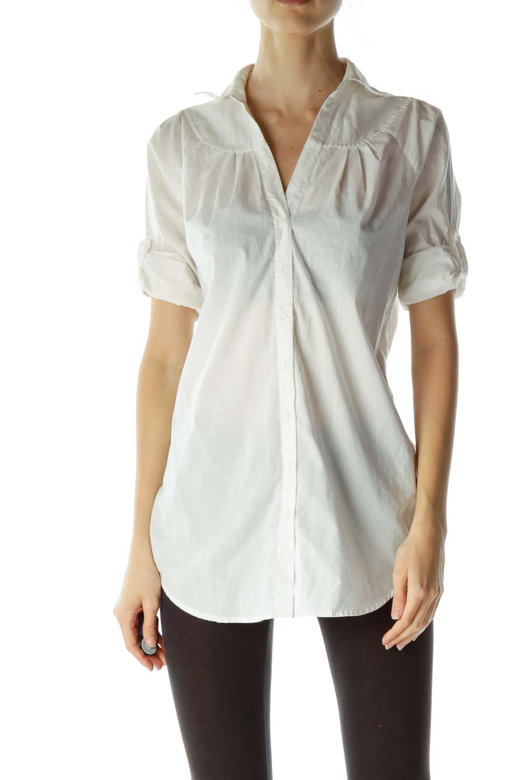 White Buttoned Belted Shirt