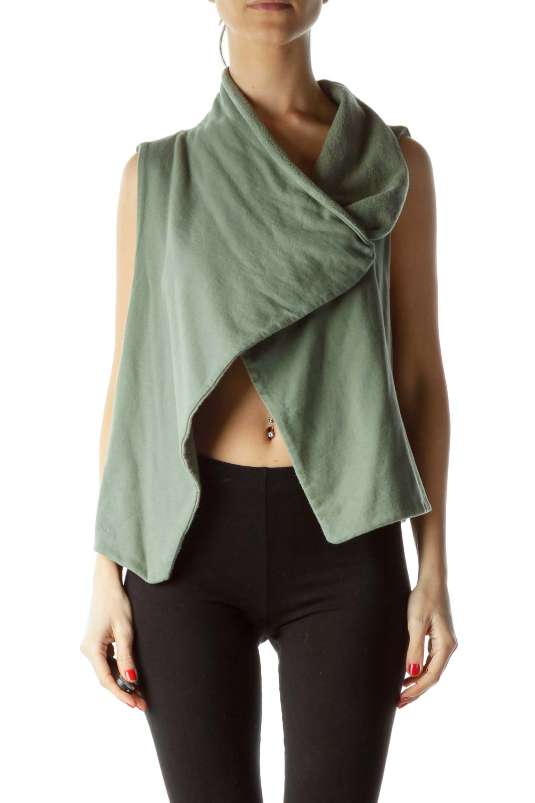 Green Fleece Collared Vest