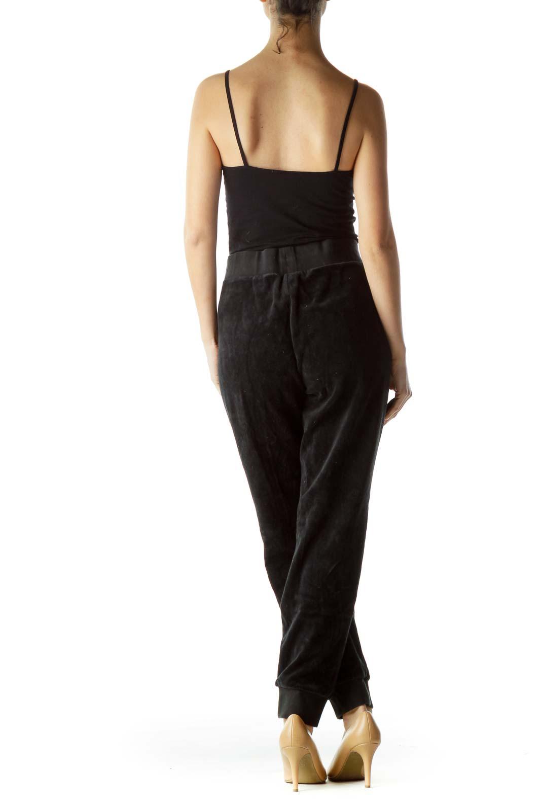 Black Drawstring Fleece Cropped Pants