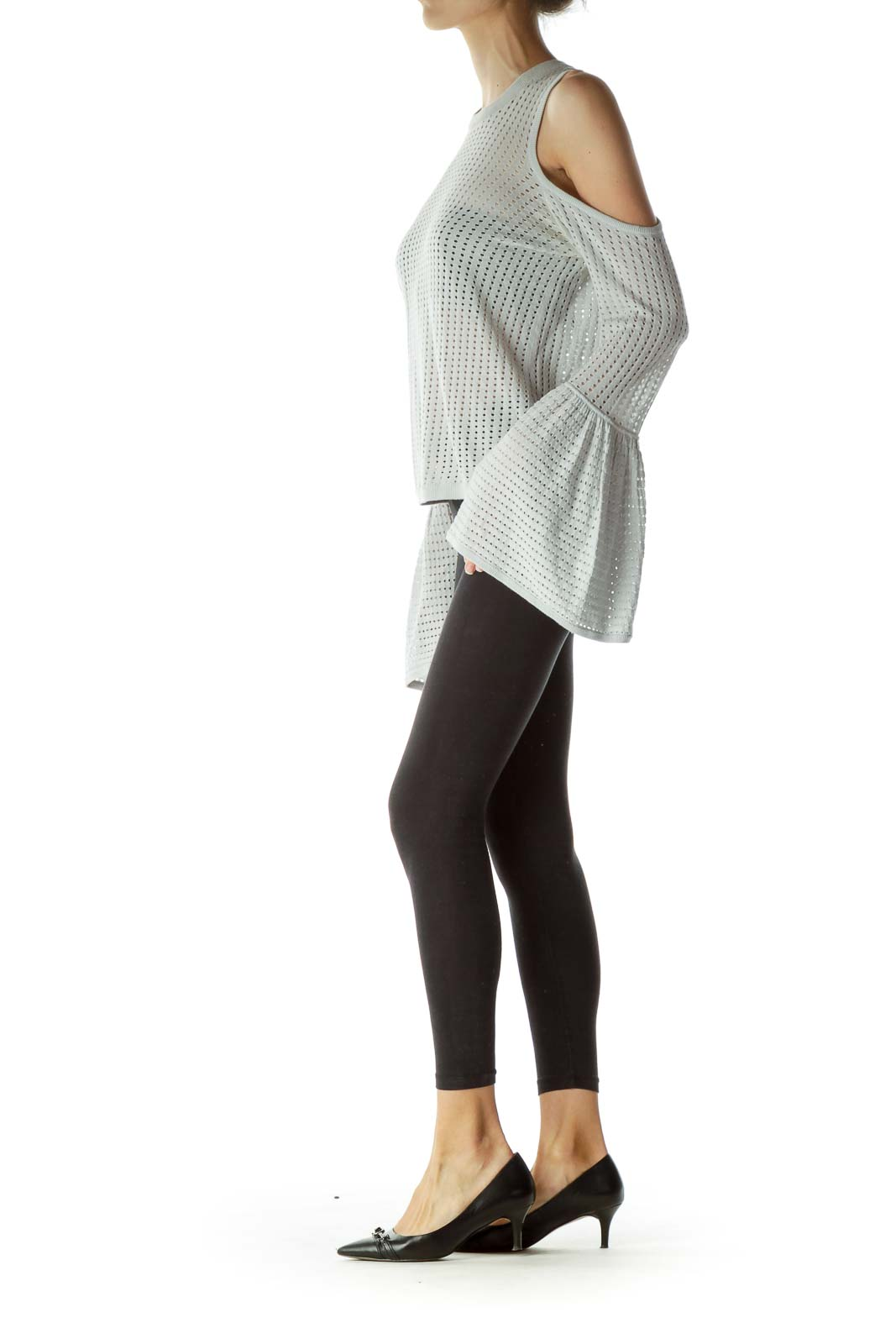 Gray Cold Shoulder Cap Sleeves Knit Top