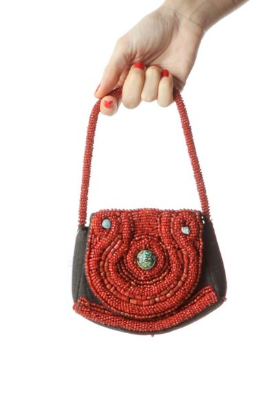Black Red Gemstone Embellished Purse