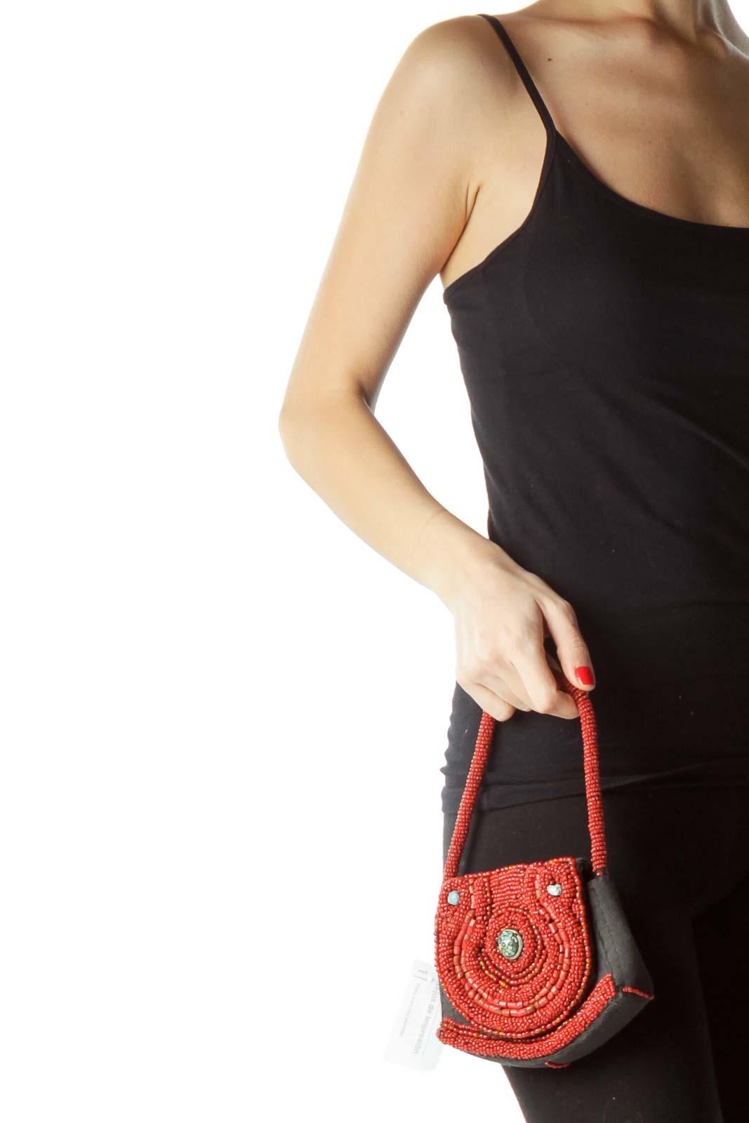 Black Red Gemstone Embellished Purse