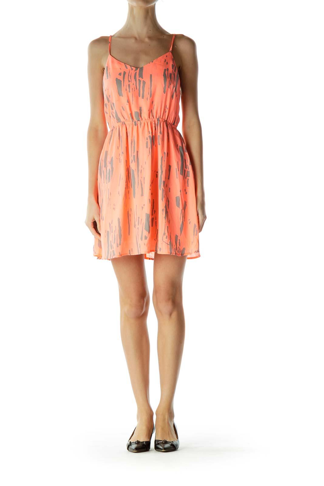 Orange Gray Printed Day Dress