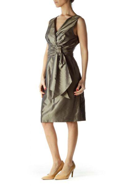 Green Satin Scrunched V-Neck Cocktail Dress