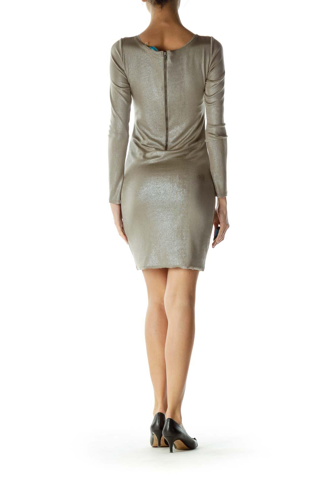 Silver Shiny Zippered Bodycon Dress