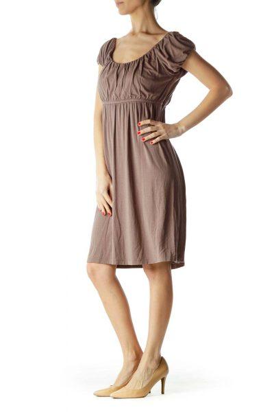 Brown Off-Shoulder Cap Sleeve Day Dress