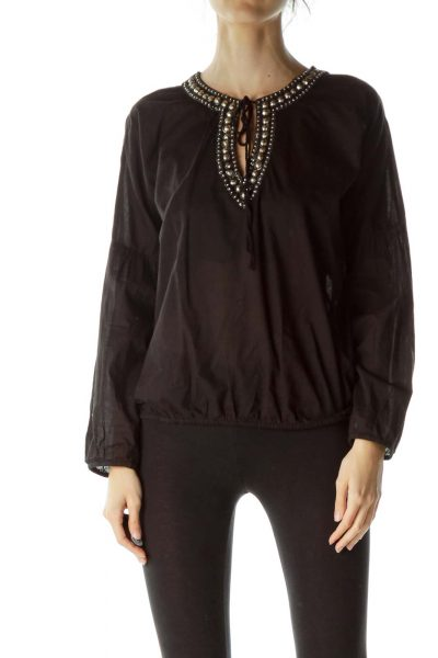 Black Embellished Long Sleeve Blouse