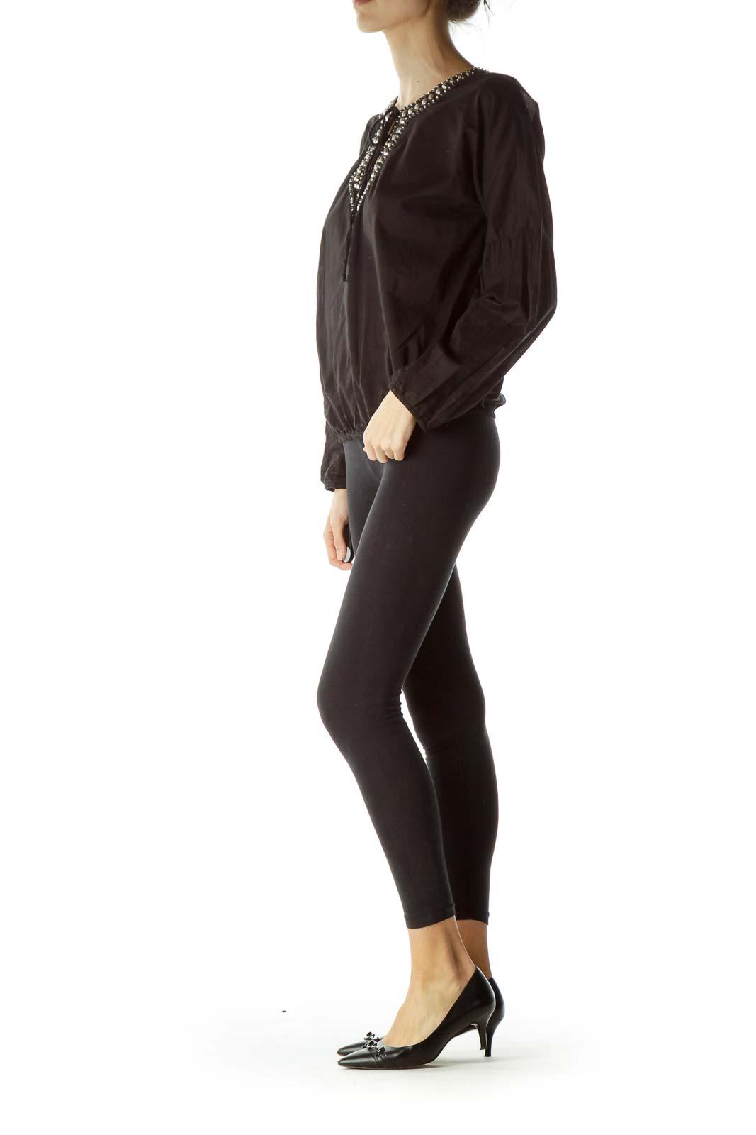 Black Embellished Long Sleeve Blouse