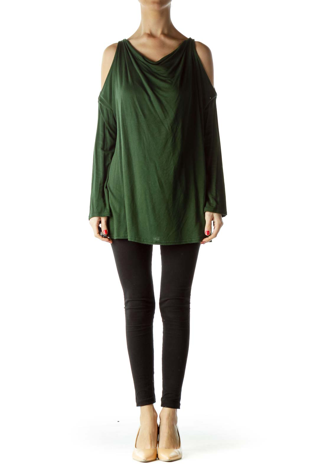Green Cold Shoulder Long Sleeve Blouse