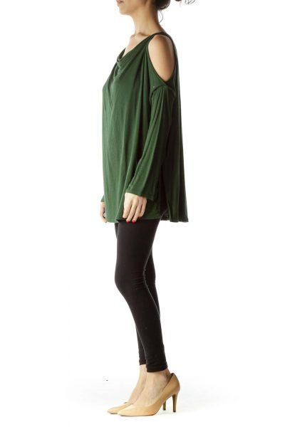 Green Cold Shoulder Long Sleeve Blouse