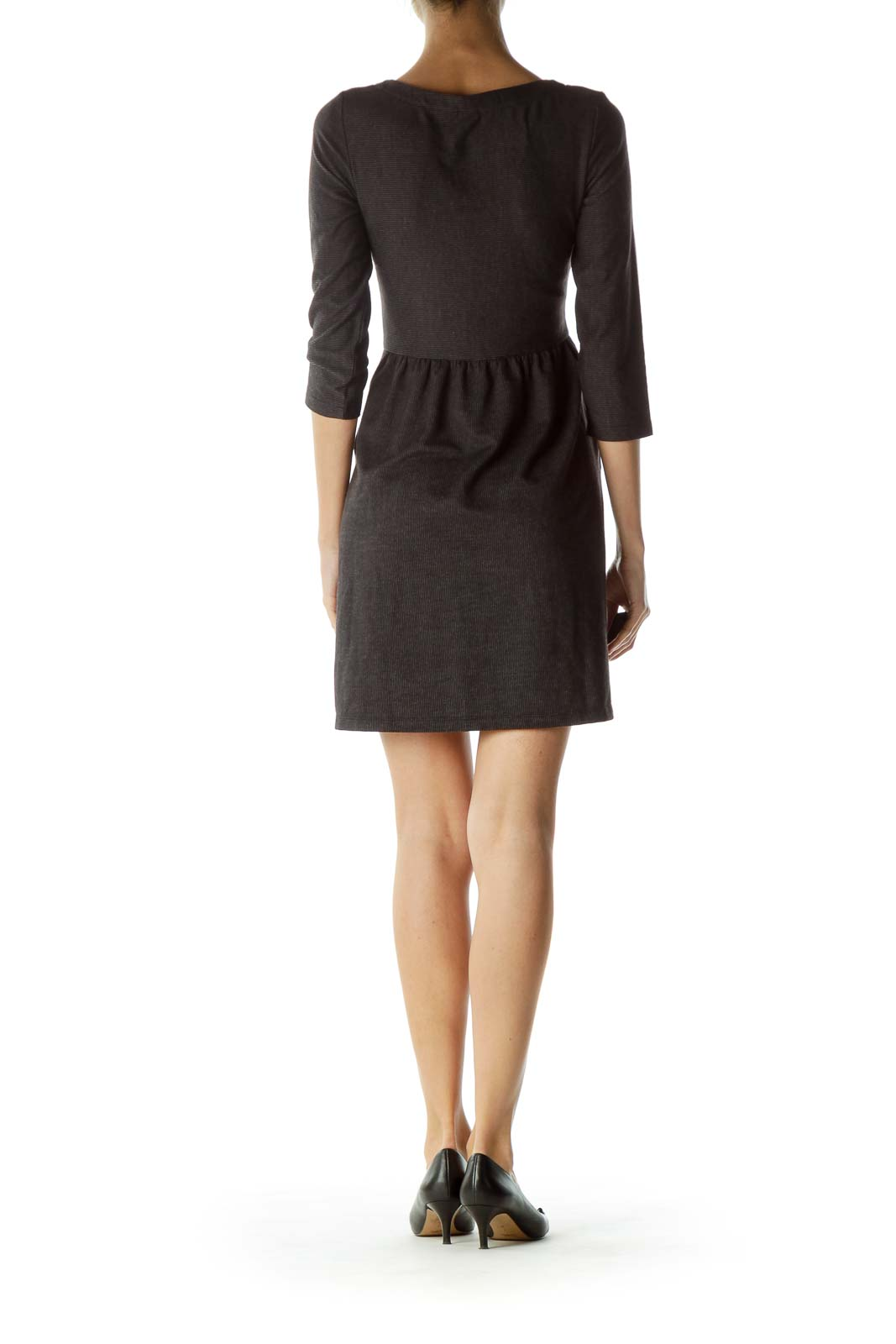 Black Striped Jersey A-Line Pocketed Dress