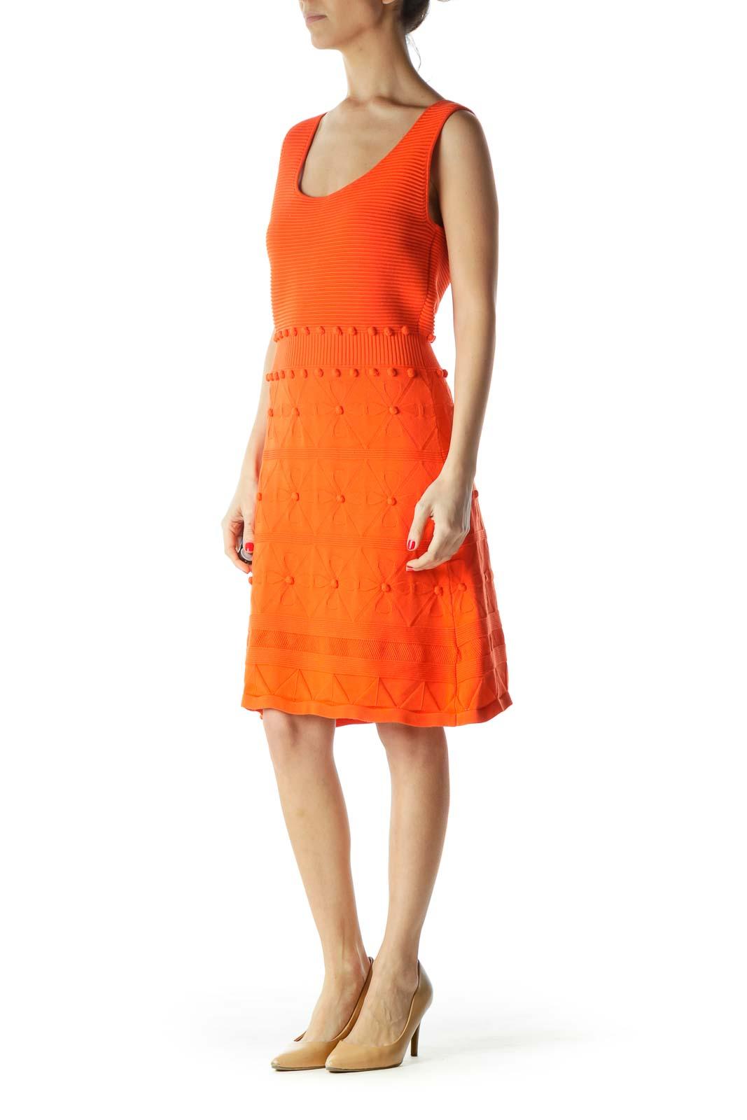 Orange Sleeveless Knit Dress