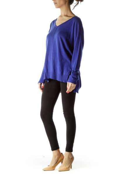 Electric Blue V-Neck High-Low Sweater