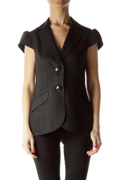 Black Buttoned Pocketed Collared Vest