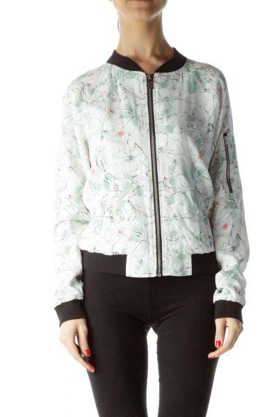 Cream Green Pink Floral Print Bomber Jacket