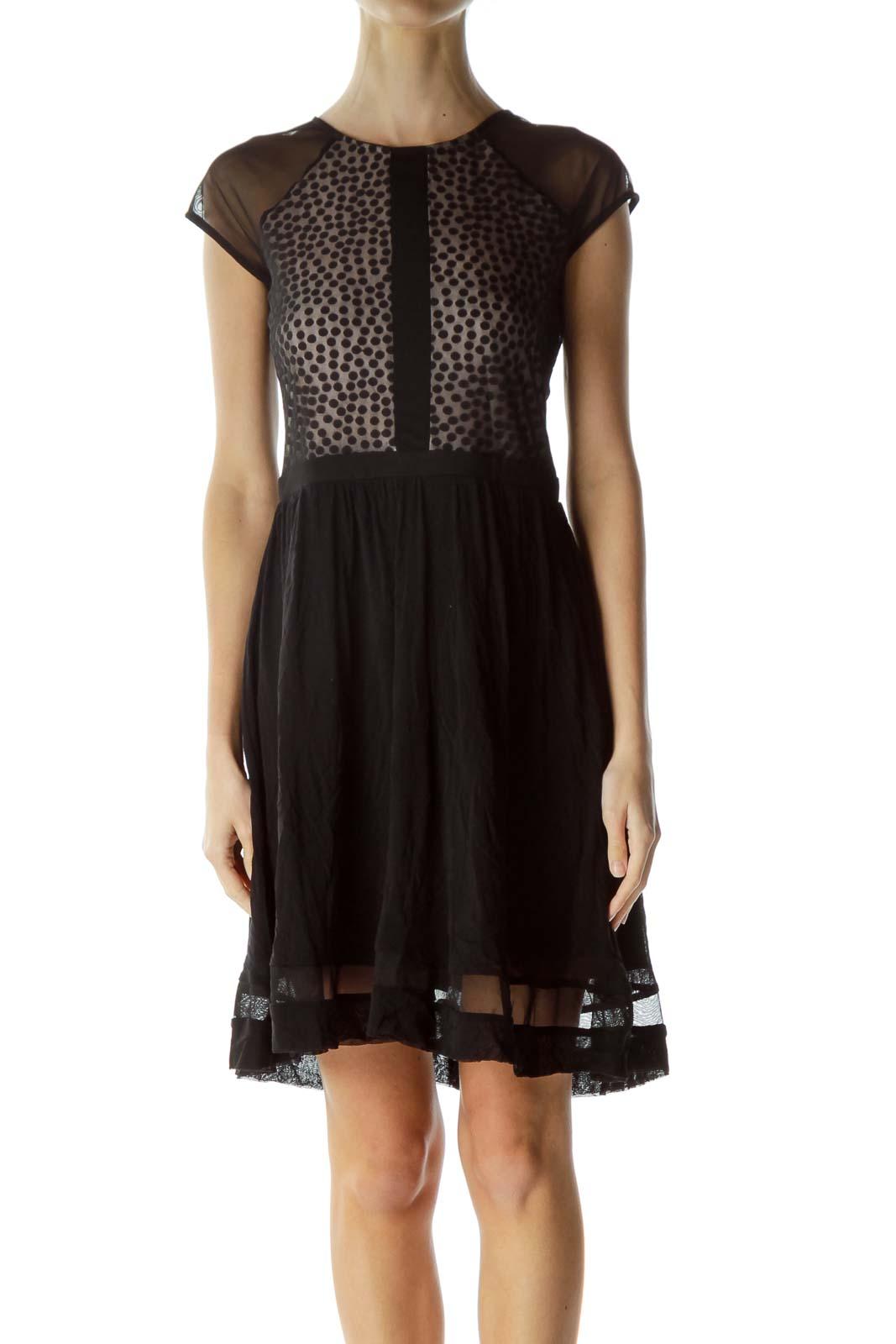 Black Beige Sheer Polka Dot Cocktail Dress