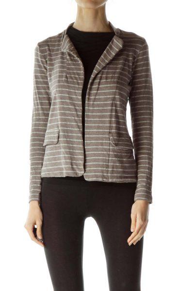 Light Brown Striped Pocketed Blazer