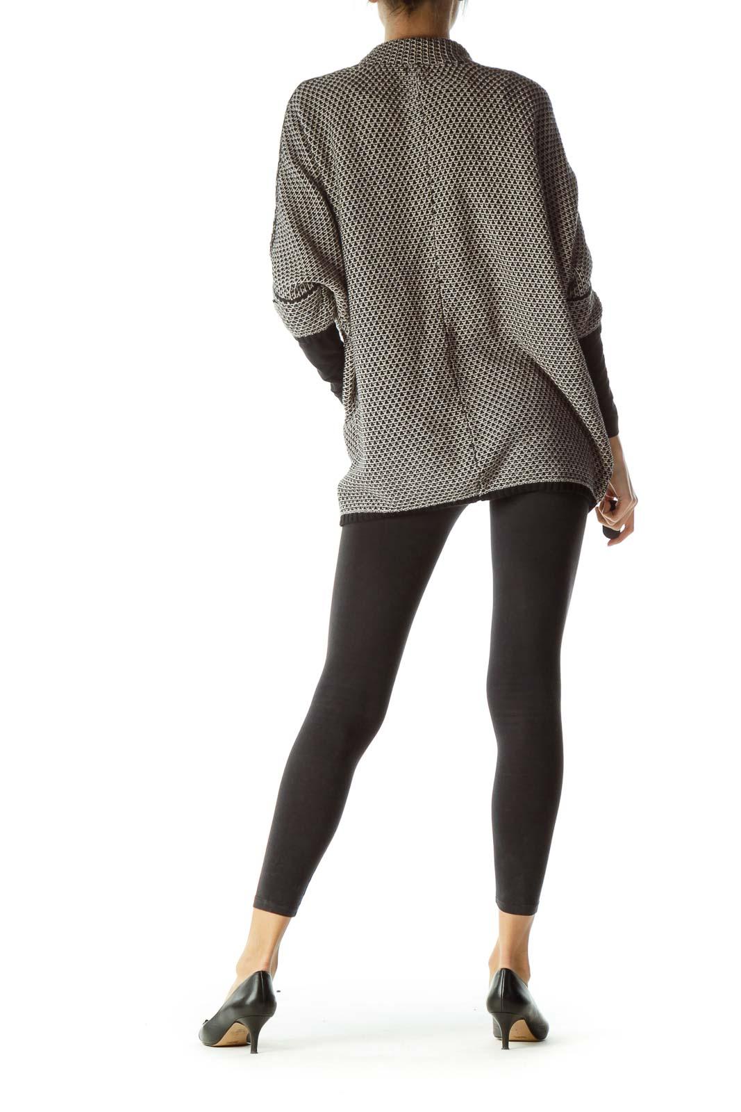 Black Beige Crocheted Sweater