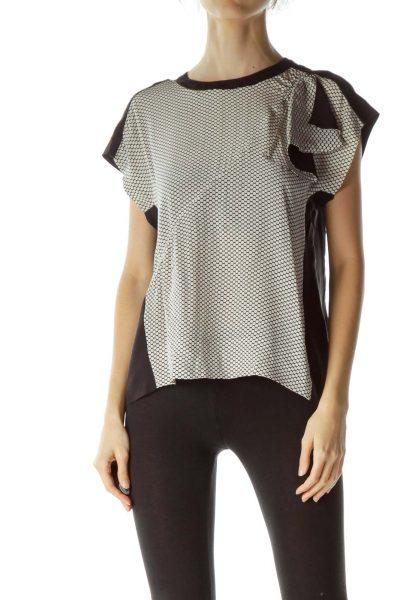 Black White Dots Print 100% Silk Blouse