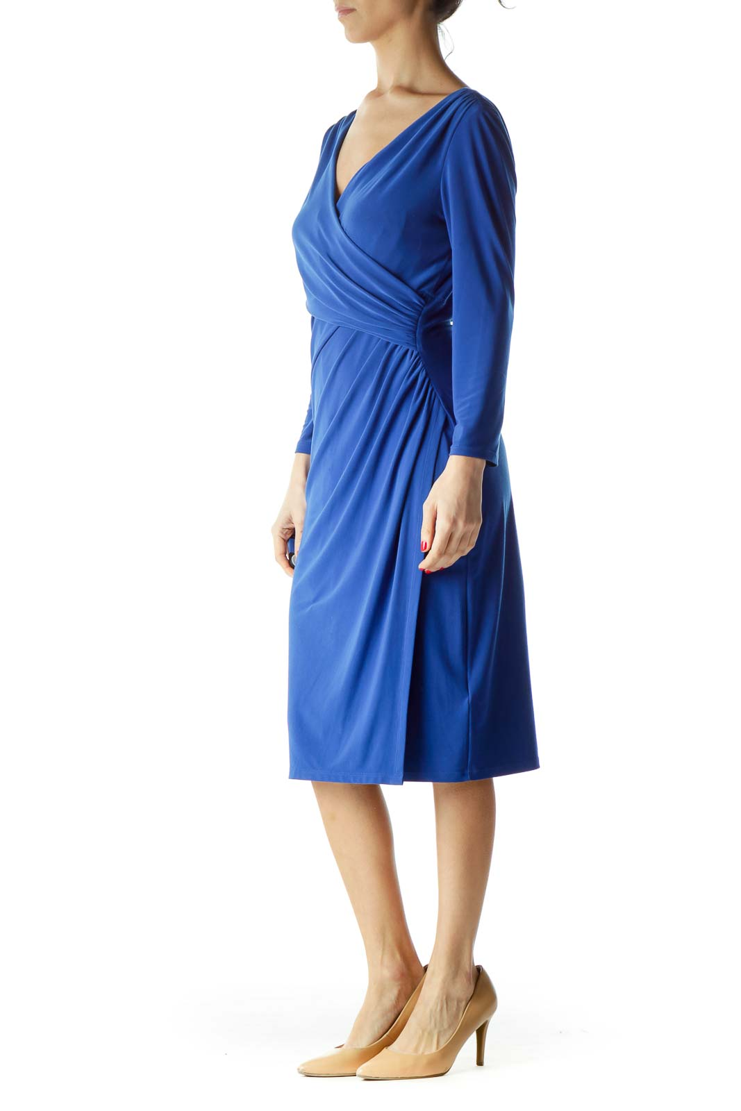 Blue Ruched 3/4 Sleeve Dress