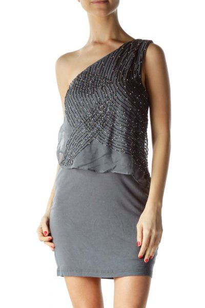 Gray Beaded Asymmetric Cocktail Dress