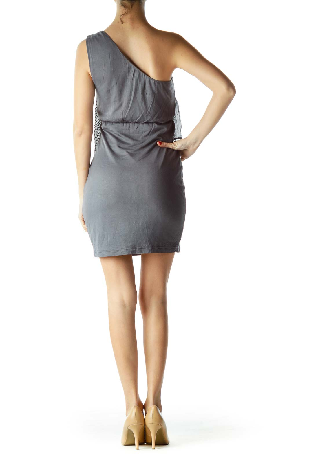 Gray Beaded Asymmetric Cocktail Dress