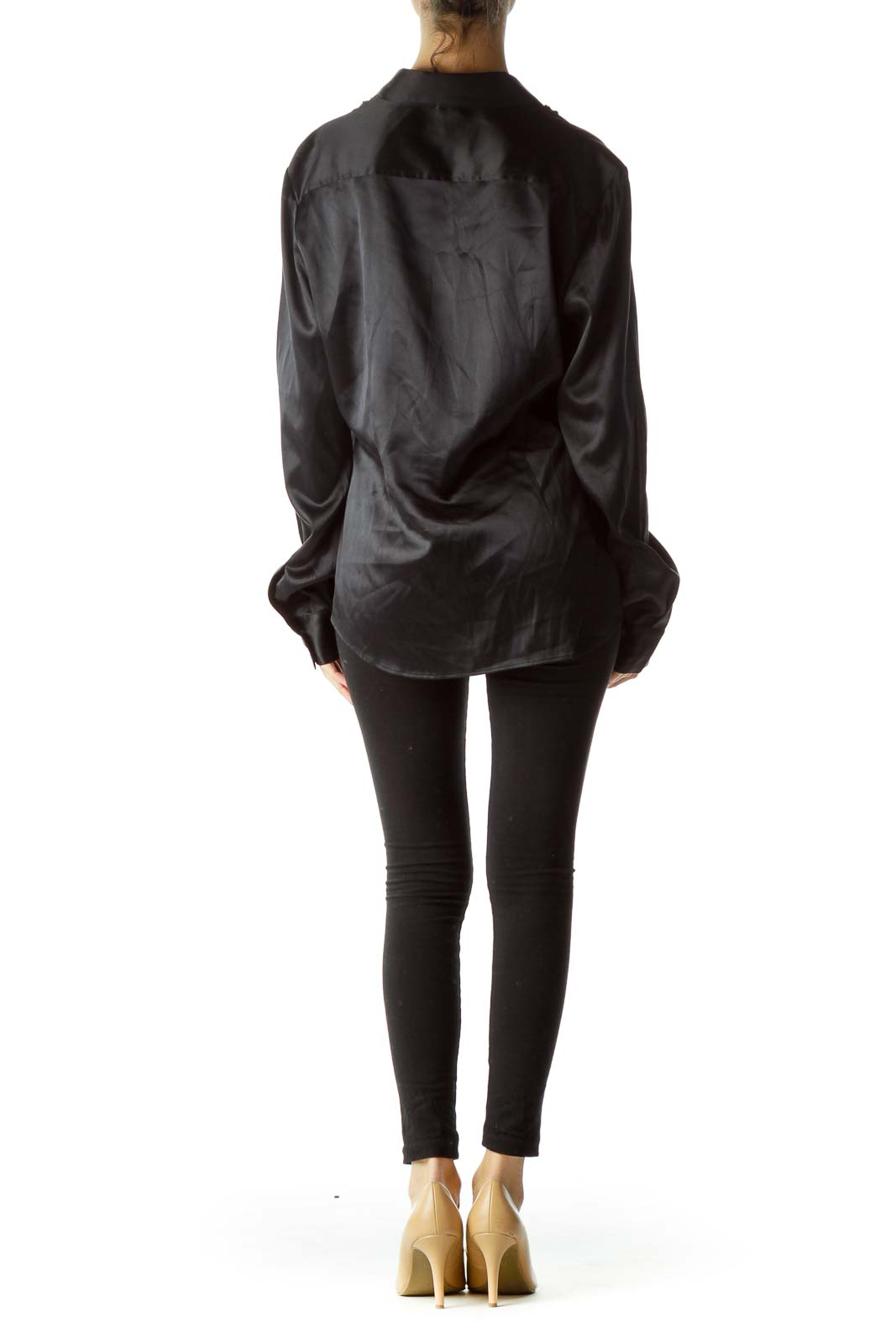 Black Short Front Ruffles Collared Shirt