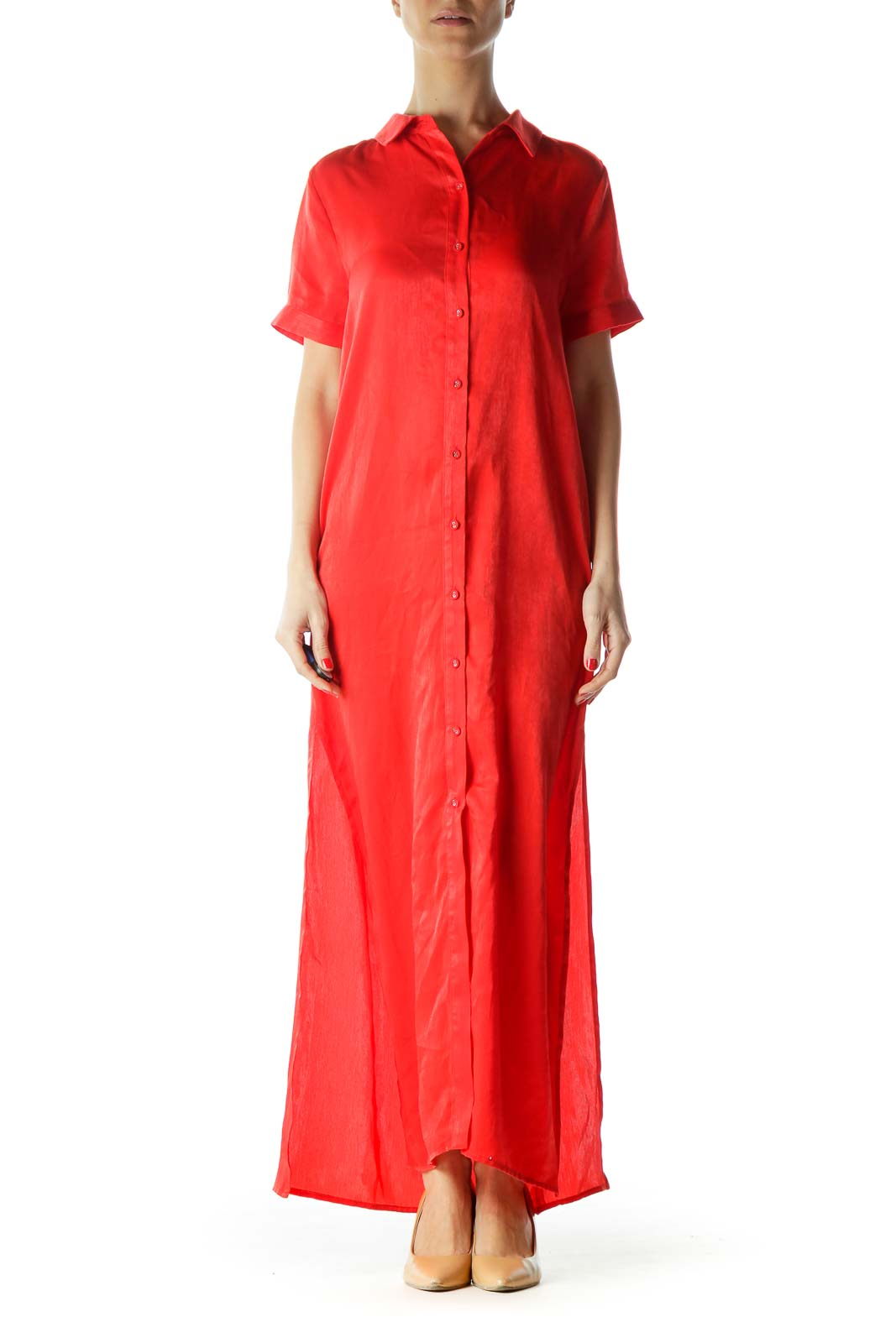 Red Maxi Shirt Dress
