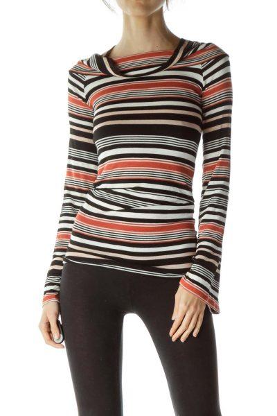 Multicolored Striped Cowl Neck Knit Top