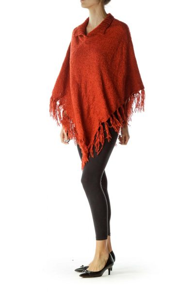 Orange Knitted High Neck Poncho